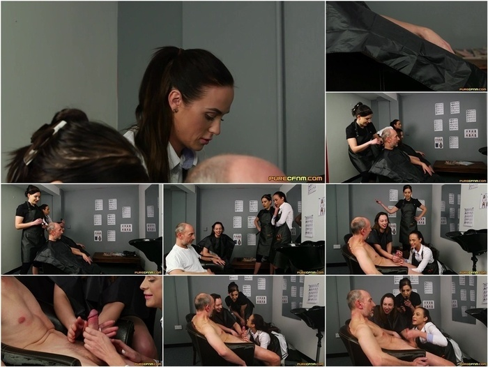 PureCFNM – Hairdresser's Gown. Starring Abigail Angel, Tindra Frost and Vinna Reed